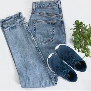 DKNY tapered jeans with raw cuffs